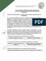 Acta General de Proclamación de Resultados de Cómputo y de Autoridades Municipales Distritales Electas Del Distrito de Quechualla, Provincia de La Unión, Departamento de Arequipa  2018