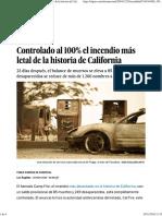 Controlado Al 100% El Incendio Más Letal de La Historia de California