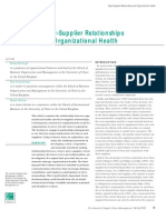 Buyer-Supplier Relationships and Organizational Health