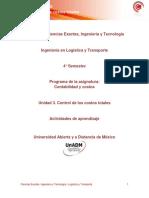 contabilidad de costos U3. Actividades de Aprendizaje