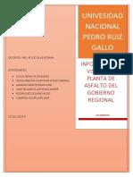 Informe Visita a La Planta de Asfalto Del Gobierno Regional