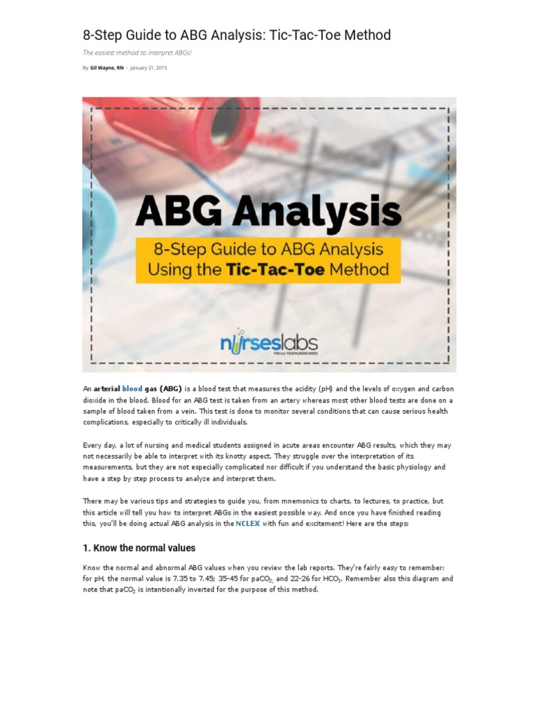 8-Step Guide to ABG Analysis- Tic-Tac-Toe Method