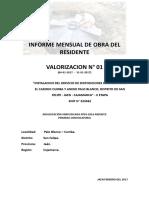 Informe Mensual de Valorizacion Obra n1