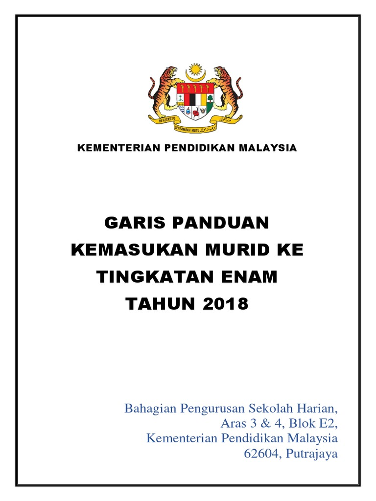 Garis Panduan Kemasukan Murid 2018