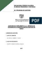 Informe de Auditoria de Cumplimiento a Lamunicipalidad de Santiago de Surco Gerencia de Tesoreria