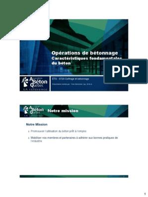 Opérations De Bétonnage Caractéristiques Fondamentales Du