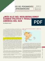 SOZZO Maximo, Mas allá del Neoliberalimo. Cambio politico y penalidad en America del Sur