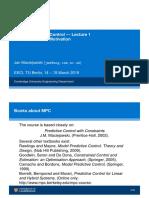Model Predictive Control Lecture handouts by Jan Maciejowski