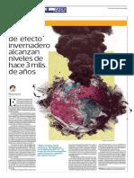 Gases de Efecto Invernadero Alcanzan Niveles de Hace 3 Mlls de Años