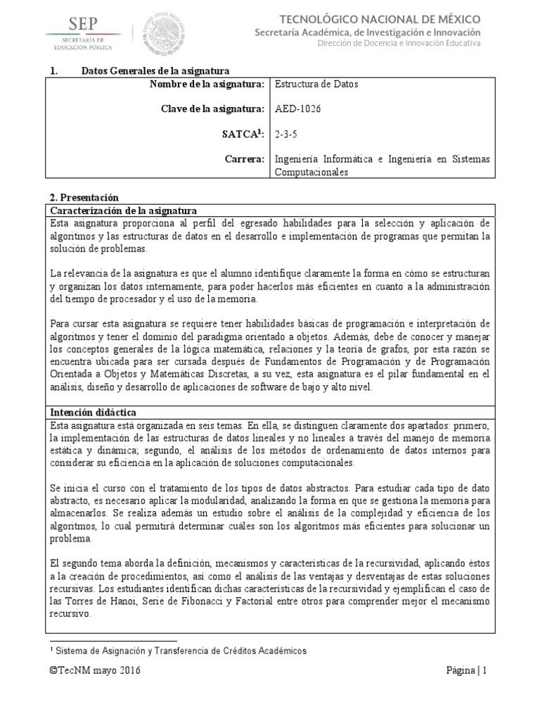 Ae026 Estructura De Datos Pdf