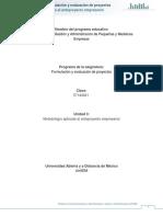 Unidad 3. Metodologia Aplicada Al Anteproyecto Empresarial