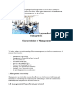 Characteristics and Features of Management
