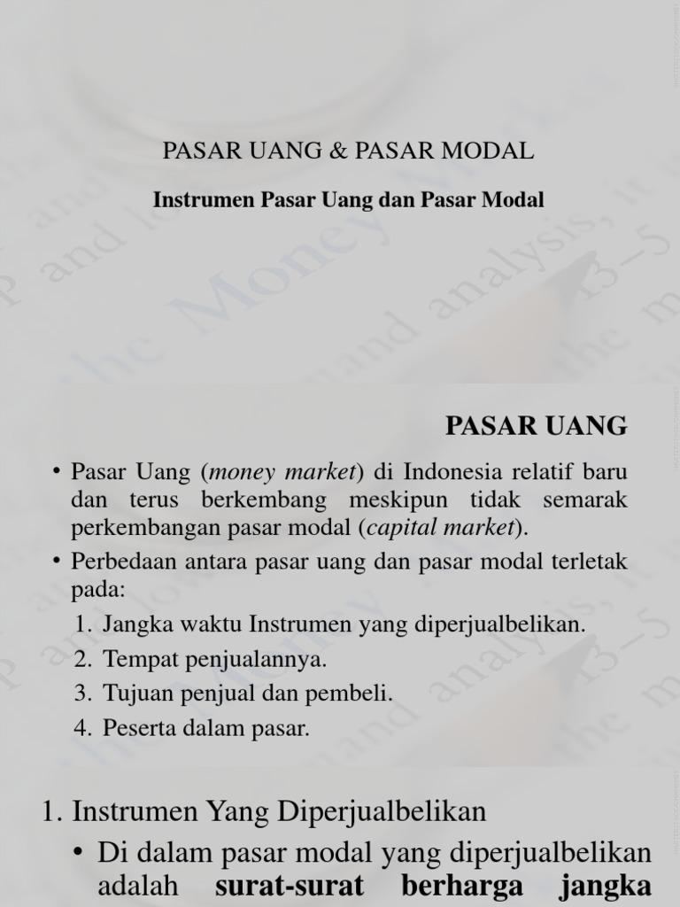 2a Instrumen Pasar Uang Dan Pasar Modalpptx