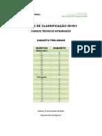 Gabarito Preliminar 2019 1