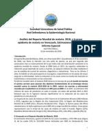 Análisis del Reporte Mundial de Malaria 2018 y La Grave Epidemia de Malaria en Venezuela