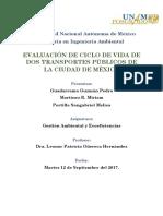 Evaluación de Ciclo de Vida de Dos Transportes Públicos de La Ciudad de México