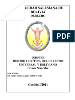 HISTORIA CRÍTICA DEL DERECHO UNIVERSAL Y BOLIVIANO