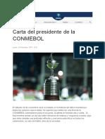 La carta del presidente de la Conmebol
