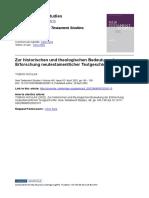 Niklas (2002) - Zur Historischen Und Theologischen Bedeutung Der Textkritischen Forschung