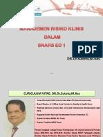 Manajemen Risiko Klinis Dalam Snars Ed1 Sutoto