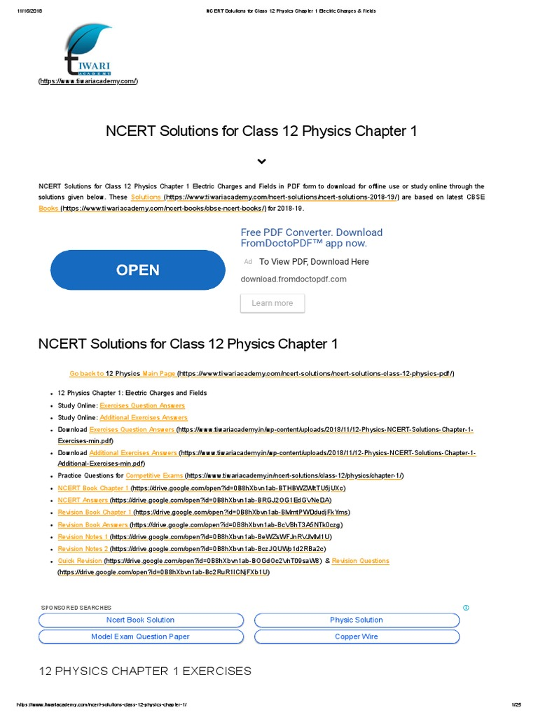 NCERT Solutions for Class 12 Physics Chapter 1 Electric Charges