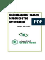 Terminos de Referencia de Normas Para La Presentacion de Trabajos Academicos Urp Iesema 1
