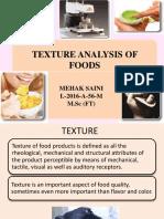 Texture Analysis of Food