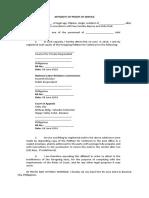 Affidavit of Proof of Service