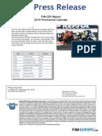 FIM CEV Repsol 2019 Provisional Calendar