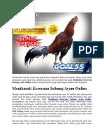 Menikmati Keseruan Sabung Ayam Online