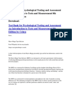 Test Bank for Psychological Testing and Assessment an Introduction to Tests and Measurement 8th Edition by Cohen