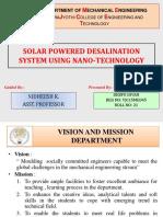 Solar Powered Desalination System using nano technology