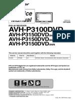 Pioneer Avh-p3100dvd p3150dvd Sm