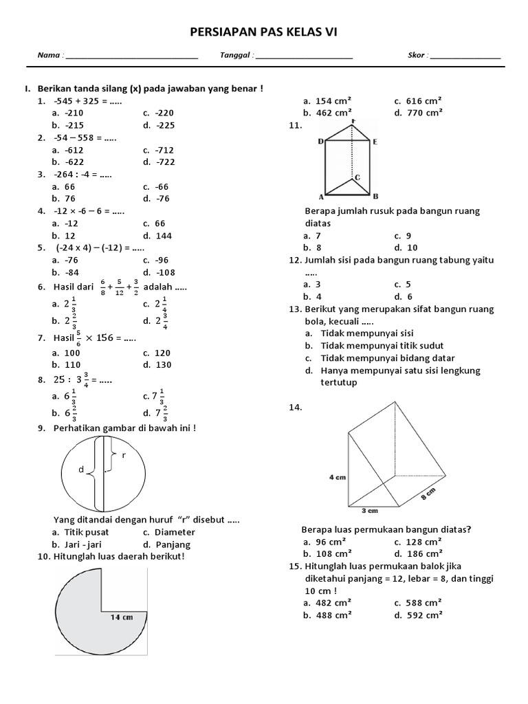 Soal Latihan Volume Bangun Ruang Kelas 6 Sd Ilmusosial Id