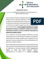 COMUNICADO OFICIAL CÁMARA GUATEMALTECA DE LA EDUCACIÓN SEP 2018