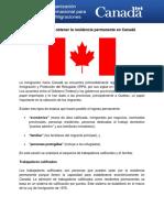OIM Admisión para obtener la residencia permanente en Canadá