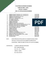 Lista de Precios Unitarios de Madera