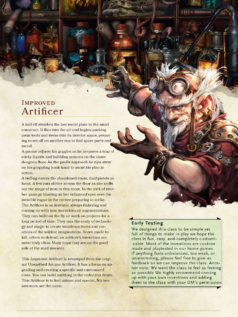 Improved Artificer 5e Ilovepdf Compressed You mention possibly taking the magic initiate feat to get guidance, but guidance is already on the artificer spell list. improved artificer 5e ilovepdf compressed