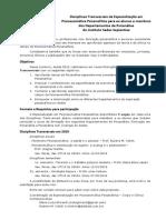 Disciplinas Transversais Especialização Em Psicossomática Psicanalítica 2019