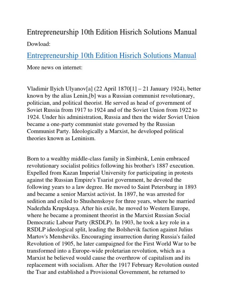 Entrepreneurship 10th Edition Hisrich Solutions Manual | Vladimir Lenin |  Communism