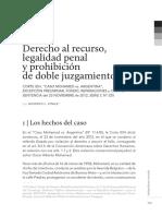 Derecho al recurso, legalidad penal y prohibición de doble juzgamiento