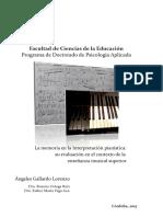 La memoria en la interpretación pianistica