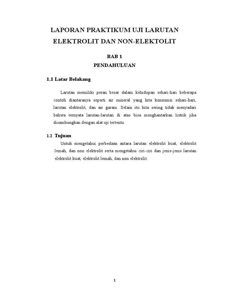 Laporan Praktikum Uji Larutan Elektrolit Dan Non Elektrolit