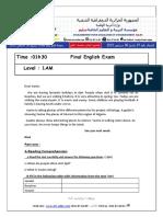 Examen Et Corrige Anglais 2014 1AM T3