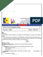 Examen Et Corrige Anglais 1AM T1