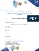 Ejercicio 3 Clasificación de Proposiciones Categóricas y Métodos Para Probar Validez de Argumentos