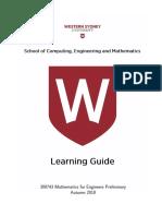 300743 Mathematics for Engineers Preliminary 2018 Autumn