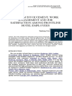 Tourism Involvement, Work Engagement and Job Satisfaction Among Frontline Hotel Employees