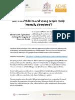 Are 1 in 8 Children Really Mentally ill?  SHS AD4E Press Release