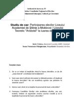 Studiu de Caz Participarea Elevilor Liceului Academiei de Stiinte a Moldovei